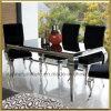 Modern Dining Room Furniture / Metal Contemporary Home Furniture for Dining Room / Glass Stainless Steel Louis Dining Table Set with Velvet Fabric Chairs