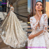 W18628 Crystal Design Long Sleeves Deep Plunging V-Neck Full Embellishment Bodice Princess Sexy Ball Gown Wedding Dress with Keyhole Back and Monarch Train
