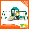 Mini Green House Style Outdoor Slide and Swing for Children