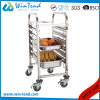 Classic Hot Sale Stainless Steel M Shape Rail Trolley Carrier for Gn 1/1 with Wheels