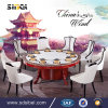 Round Luxury 8 Seat Chairs Set Newest Fashion 3D Elegant Dining Table Sets