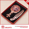 Rose Cosmetic Round Metal Pocket Mirror with Hair Comb Set