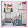 Popular 3.8m Double Telescopic Bamboo Aluminium Ladder