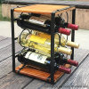6 Bottles Wood and Metal Wine Display Stand for Furniture