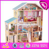 New Design Luxurious and Attractive 34 Furniture Pieces Girls Wooden Doll House Toys W06A217