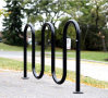 5 Bike Parking Outdoor Steel Wave Bike Rack
