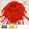 Acrylic Fashion Lady Orange Knitted Neck Scarf with Knotted Fringe