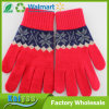 Red Warm Add Thick and Thick Knitted Jacquard Gloves