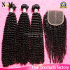 Mongolian Afro Kinky Curly Bundles Remy Human Virgin Hair with Closure