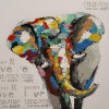 Aluminum Art Oil Painting for Elephent