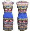 Latest Porcelain Flower Printed Dress for Ladies (1-126-20)