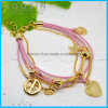 Pink Wire Leather Chain Star Charm Bracelet #31461