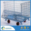 Heavy Duty Foldable Steel Wire Mesh Container with Wheels