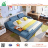 New Antique Fabric Bed Solid Wood Frame Bed, Wooden Furniture Beds