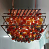 Custom Blow Glass Ball and Steel Frame LED Chandelier at Function Room