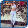 Hot Sales Women Sexy Snakeskin Leggings Two Pieces White Mesh Stitching Sports Set