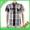 New Design Casual Grid Short-Sleeved Mens Shirts with Embroidery