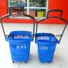 Supermarket Used Plastic Rolling 4 Wheel Trolley Basket