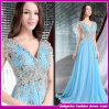 2015 European Style Sexy V-Neck Lace Applique Maxi Evening Dress/Party Dress/Bridesmaid Dress (B-0038)