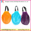 Custom Factory Eco-Friendly Cotton Mesh Bag with Leather Comfortable Handle