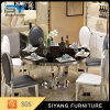 Black Tempered Glass Round Dining Table for Events