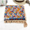 Fashion Lady Scarf Printed with Fringed Twill Cotton Shawl