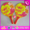 2015 Cheap Wooden Beach Racket Set, Wooden Beach Racket with Beach Ball Wholesale, High Quality Flower Wooden Beach Racket W01A098