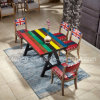 Durable Wooden Restaurant Furniture Set with Rainbow Color Table (SP-CT802)
