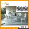 New Designed No Folded Plastic Rattan Outdoor Dining Table and Sling Armchair Furniture Set