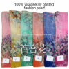 2017 Hot Sale Fashion Ladies Viscose Lily Printed Designs Scarf
