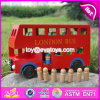 Red Color London Bus Toy for Kids, Education City Games Wooden Car Model Toy Bus, Children Wooden London Red Bus Toys W04A161
