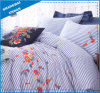 Blue Stripe with Flowers Embroidery Cotton Duvet Cover Set