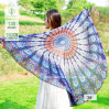 2017 Hot Sale Chiffon Round Beach Towel with Peacock Printed