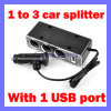 1 a USB Port (SL-605) de 3 Car Cigarette Lighter Socket Splitter Charger