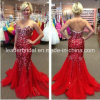 Crystals Tulle Prom Dress Red Wedding Party Cocktal Dresses E1406