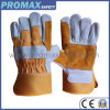 Double Palm Anti Abrasion Cow Split Leather Work Gloves with Ce Approved