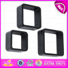 2015 Wooden Wall Shelf Black, MDF Round Corner Wooden Wall Cube Shelf, 3 Sets Round Corner Cube Wood Storage Wall Shelf W08c104A