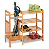 Wood Shoe Rack of Four Tiers with Umbrella Rack with CE (G-SR07)