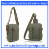 Canvas Messenger & Waist Bag with Leather Trim
