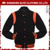 2016 Winter Plain Black Wool Bomber Jacket