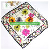 90*90cm 100% Silk Fashion Lady Square Scarf with Ribbon Printed