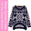Fashion Custom Geometric Rhombus Retro Black Sweater