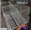 Foldable & Stackable Galvanized Metal Wire Mesh Pallet Cage for Warehouse Storage