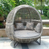 Modern Leisure Furniture Aluminum Wicker Lounger Chair Flat Rattan Sofa (J835)