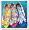 Fashion Flowers PU Women's Shoes Peep Toe Flats Shoes