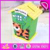 2015 Promotional Hot Sale Fashion Money Safe Box, House Shaped Money Safe Box, High Quality Wooden Money Safe Box Toy W02A024