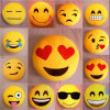 Round Ball Yellow Color 8inch Stuffed Emoji Toy