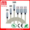 1pack OEM 8 Pin USB Charger Cord Sync Data Cable for iPhone 5 5s 5c 6 6+ iPad Mini---Grey with Gold