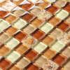 Glass Tile Yellow Brown Square Shell Resin Modern Design Fashion Backsplash Tile