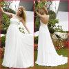 White Chiffon Formal Gown Beads Empire Wedding Dress (H036)